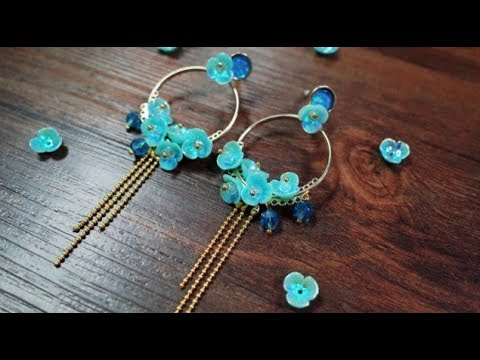 DoreenBeads Jewelry Tutorial - How to Make Green Blue Resin Flower Glass Beads Tassel Earrings