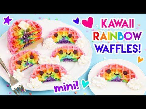 How to Make MINI Kawaii Rainbow Waffles!