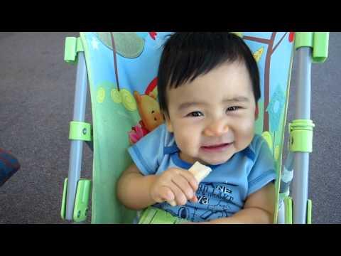 Baby Cao Minh eats teething rusk
