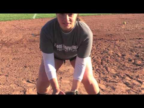 Fielding a ground ball at third base- softball