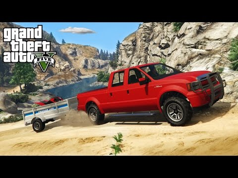 GTA 5 - OFF-ROAD 4x4 ATV HAULING w/ TRAILER! Trails, Hills, & Mudding! (GTA V PC Mods)