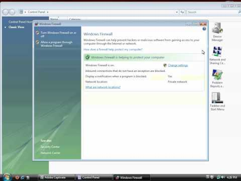 Enabling the Windows Vista Firewall