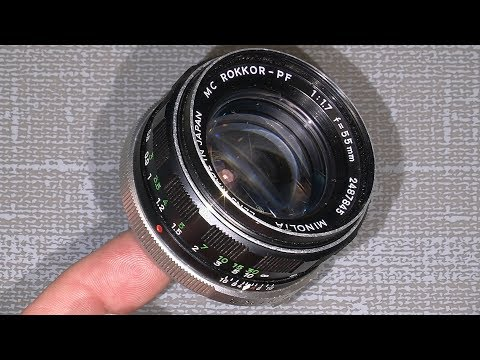 Oil on the aperture blades in Minota MC Rokkor-PF f=55mm 1:1.7