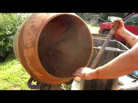 Mixing Cob or Earthen Plaster with a Cement Mixer