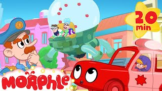 My Red Police Car in: The Bandits are not Bandits Anymore? - Morphle the superhero videos for Kids!