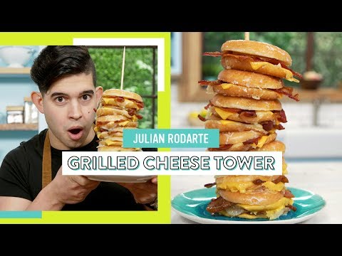 INSANE DONUT GRILLED CHEESE TOWER | Julian Rodarte