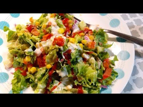 Veggie Salad with Homemade Salad Dressing   Healthy Salad   Salad Dressing with Yogurt