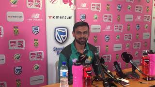 Shoaib Malik addresses the media after their victory over the Proteas in the 4th ODI.
