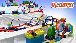 Our Biggest Downhill HOT WHEELS Track Layout Ever!