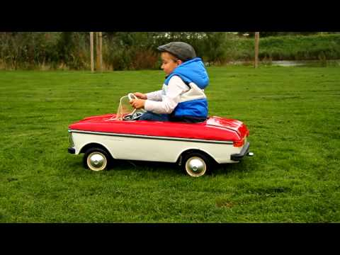 Moskvich gas powered pedal car doing donuts