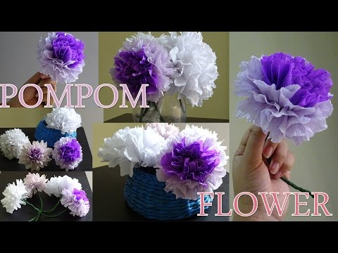How to make #pompom flower with crepe paper