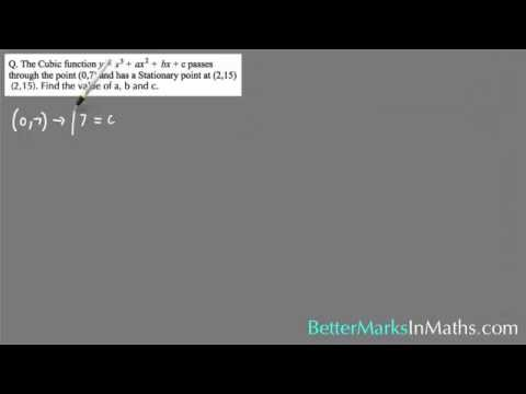 Solving A Cubic Function for the value of a, b and c - VCE Maths Methods