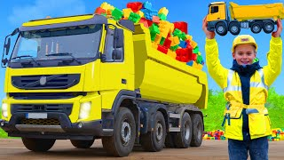 Kids Pretend Play with Real Trucks & Excavator | Stories to Learn Colors with Toys