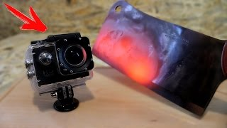 EXPERIMENT Glowing 1000 degree MEAT CHOPPER VS GoPro
