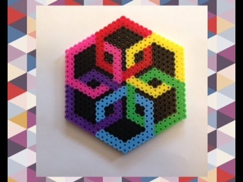 DIY Perler Bead Geometric Design Tutorial//Satisfying Optical Illusion Perler Bead Creation!!