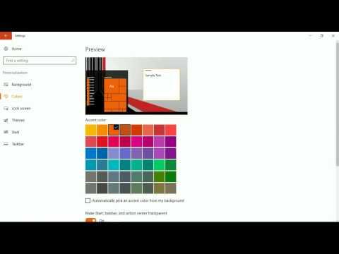 windows 10 theme or colour setting