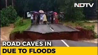 Caught On Camera: In Kerala, Road Caves In After Heavy Rain