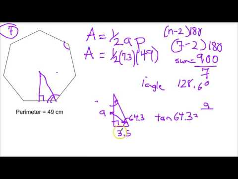 Area of a Regular Polygons Given Perimeter Using Trigonometry