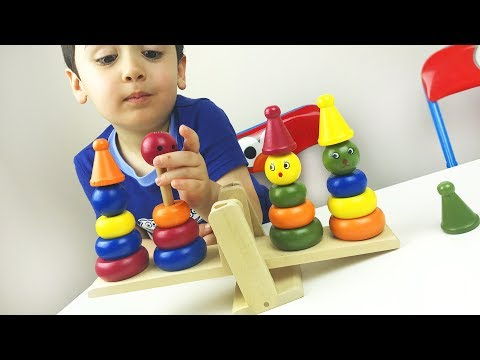 Comedian Clown Rainbow Stacker Seesaw Balance Scale. Kids Wooden Toy. Let's Play Kids.