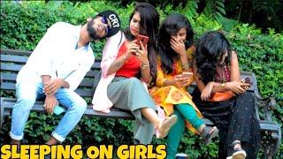 SLEEPING ON GIRLS PRANK || MOUZ PRANK