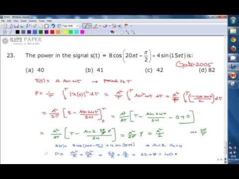 GATE 2005 ECE Calculating power of a given signal