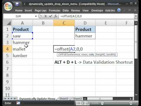 Dynamically Update a Drop Down Menu/List - Data Validation & OFFSET() Function