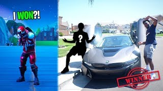 I Made 2 Fortnite Clans 1v1 To WIN my Car for 24 HOURS! HE WON A 2019 BMW i8!