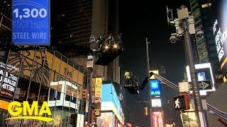 High wire up over Times Square for Wallenda feat l GMA