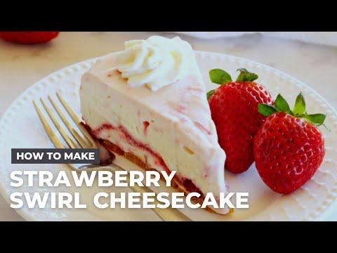 Easy No Bake Strawberry Swirl Cheesecake Recipe