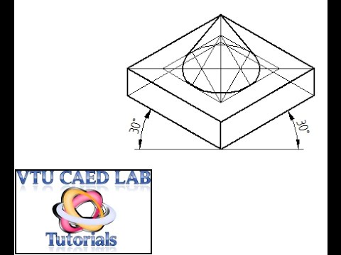 Isometric projection of a square slab and cone