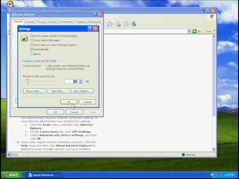 Adjust how Internet Explorer caches internet files.avi