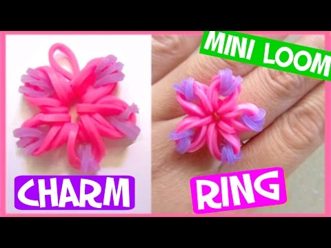 Rainbow Flower Charm/Ring with Mini Loom SUPER EASY
