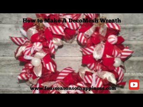 How to make a deco mesh wreath, how to make a candy cane theme deco mesh wreath, wreath tutorial