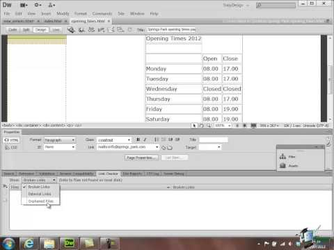 Dreamweaver CS6 Training - Part 24 - Error Checking Before Site Publishing - Create a Website Course