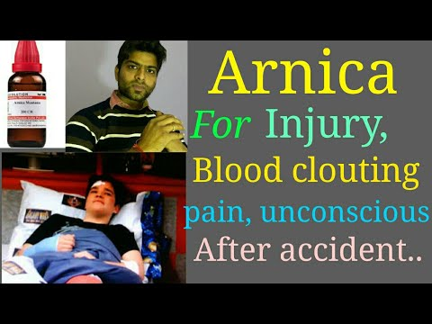 Arnica montana homeopathy for injury, pain,swelling, blood clouting, medicine after accident.