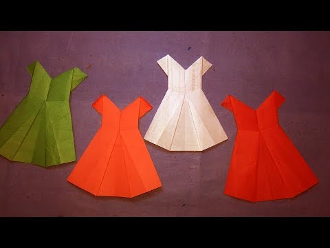 Paper Dress - How to make an origami dress ? Easy Origami Instructions Step by step