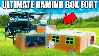 ULTIMATE TWO STORY GAMING BOX FORT!! 📦🎮 XBOX, Couches,Surround Sound, Flatscreens BQQ & More!!