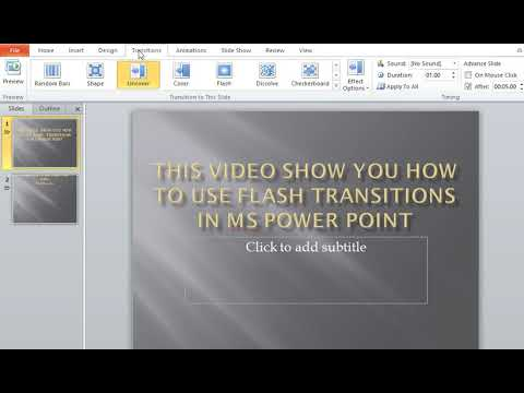 How to use Flash Transitions in MS Power Point