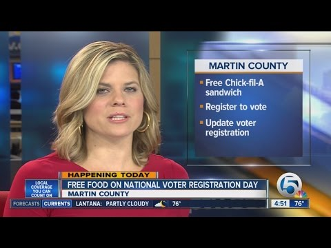 Register to vote in Martin County on Sept. 22, get free Chick-Fil-a