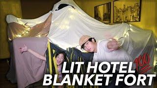 WE TURNED OUR HOTEL ROOM INTO A FORT | Ranz and Niana