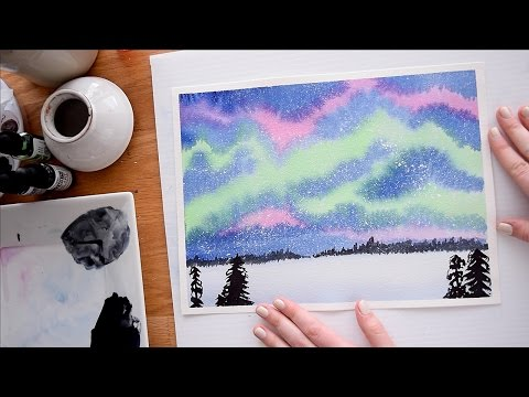 Paint the Northern Lights in Watercolor ~ Beginner's Tutorial