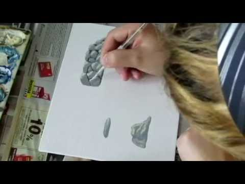 How to paint rocks, drywall and stone stairs in acrylics