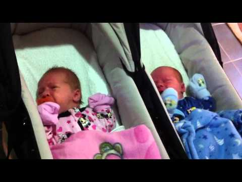 Newborn Baby Twins Crying Together