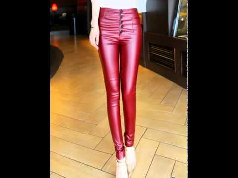 Fashion plus velvet skinny feet leather pants slimming pants.avi