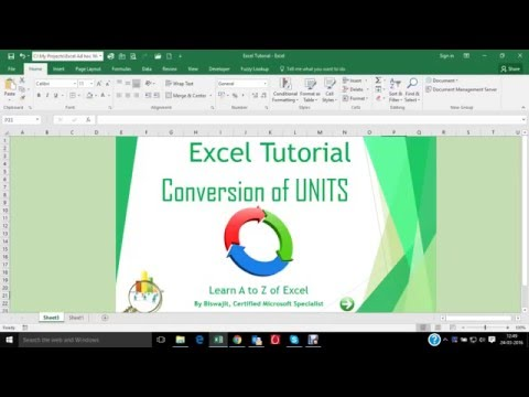 Conversion of Units in Excel