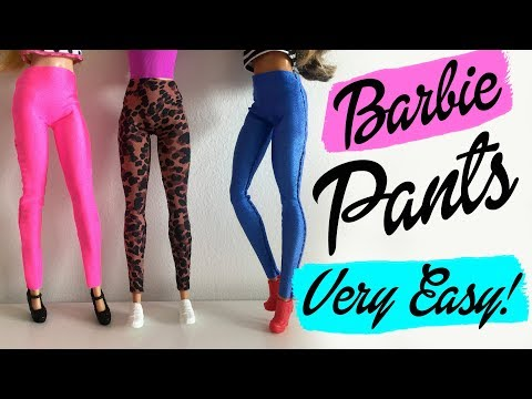 How to make a PANTS or LEGGINGS for Barbie Very easy! Clothing for dolls