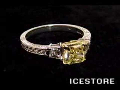 FANCY YELLOW THREE STONE PAVE ENGAGEMENT RING