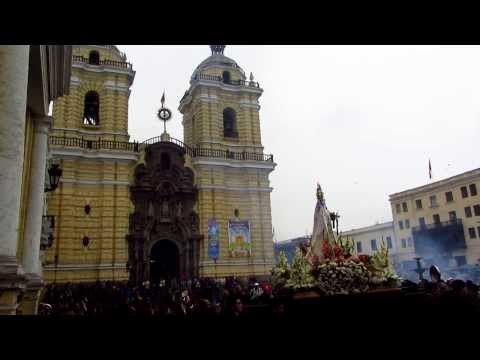 Sunday service with Firecrackers and a live band outside Monastery of San Francisco in Lima Peru