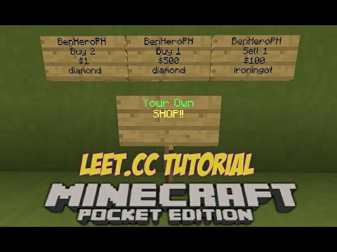 MinecraftPE: Leet.cc Server Tutorial | How to make your own Shop to my Server | TAG-LISH |