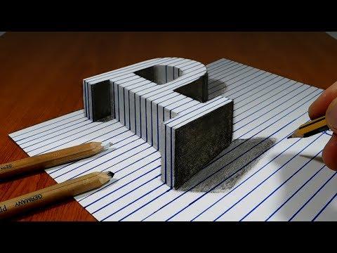 Draw a Letter P on Line Paper   3D Trick Art
